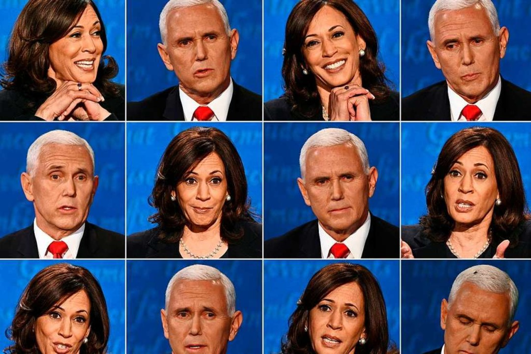 Kamala Harris, Kandidatin der Demokrat...ent Mike Pence während der TV-Debatte.    Foto: ROBYN BECK, ERIC BARADAT (AFP)