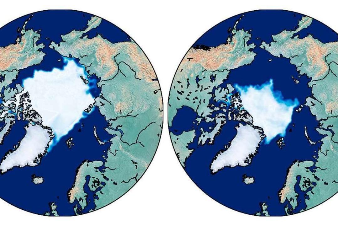 Eine grafische Darstellung zeigt die M...der Arktis im September 2019 (rechts).    Foto: Dirk Notz