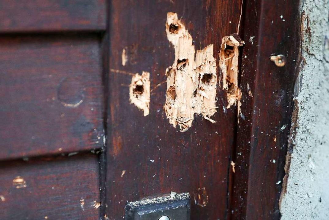 Die Einschusslöcher in der Tür der Synagoge in Halle am Tag nach dem Attentat  | Foto: Jan Woitas (dpa)