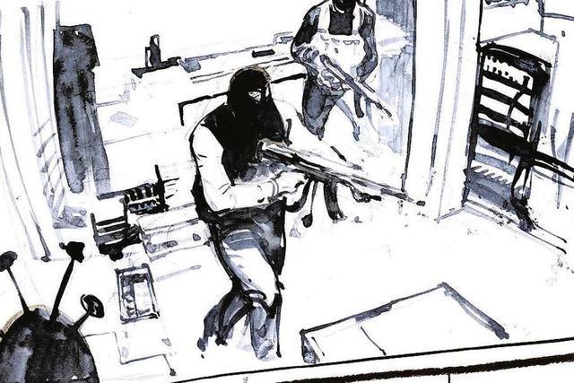 Wie ein Karikaturist den Prozess zum Terroranschlag auf