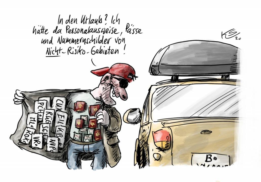 So sieht unser Karikaturist Klaus Stut...r die sogenannten Beherbergungsverbote  | Foto: Klaus Stuttmann