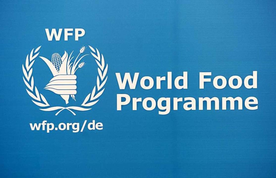 Logo des Welternährungsprogramms der V...r den Friedensnobelpreis erhalten hat.  | Foto: Jens Kalaene (dpa)