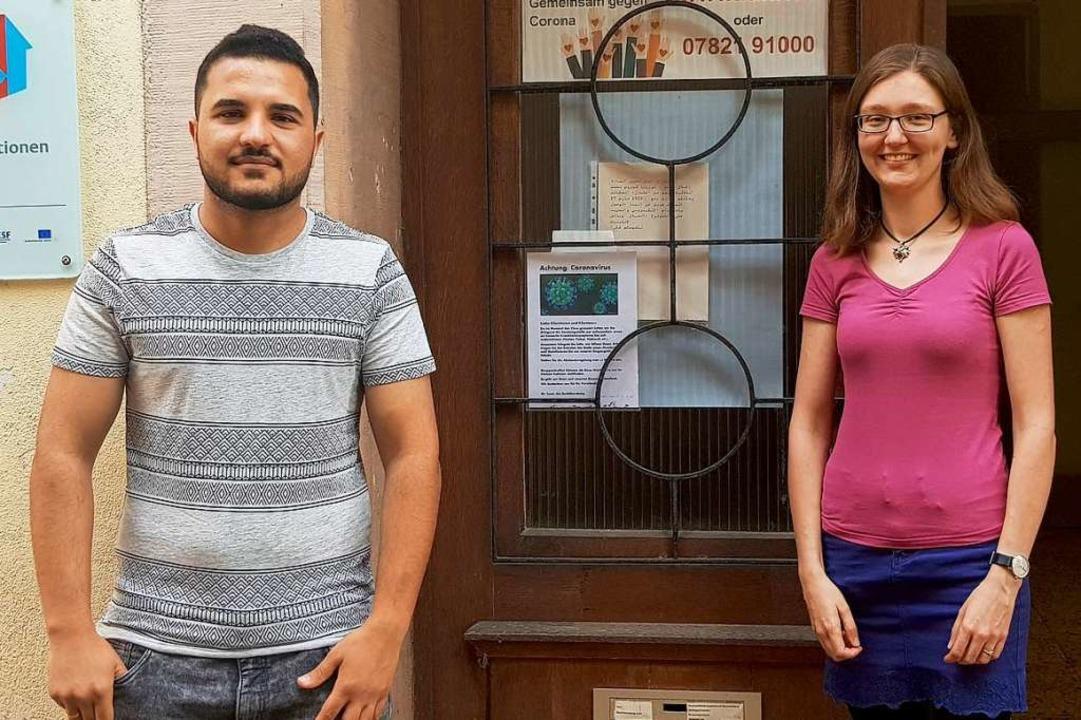Kufan Kamal Sleiman und die Integrationsbeauftragte Charlotte Wolf  | Foto: Stadt Lahr