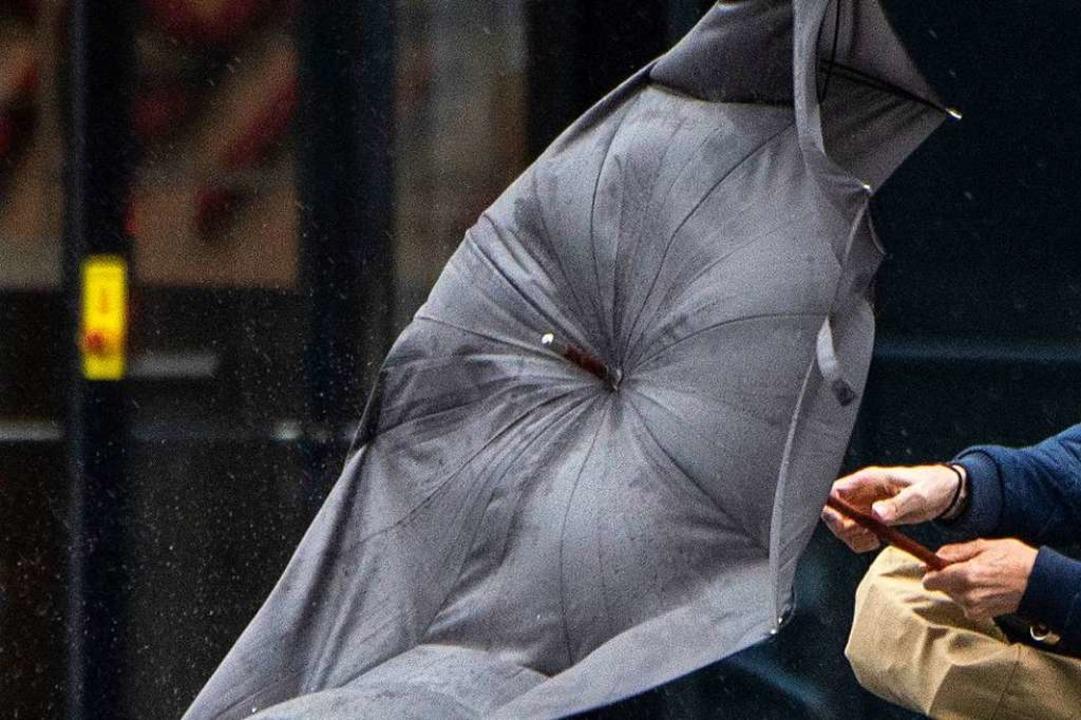 So verbeult könnte der Schirm, der als...nsatz kam, hinterher ausgesehen haben.  | Foto: Boris Roessler (dpa)