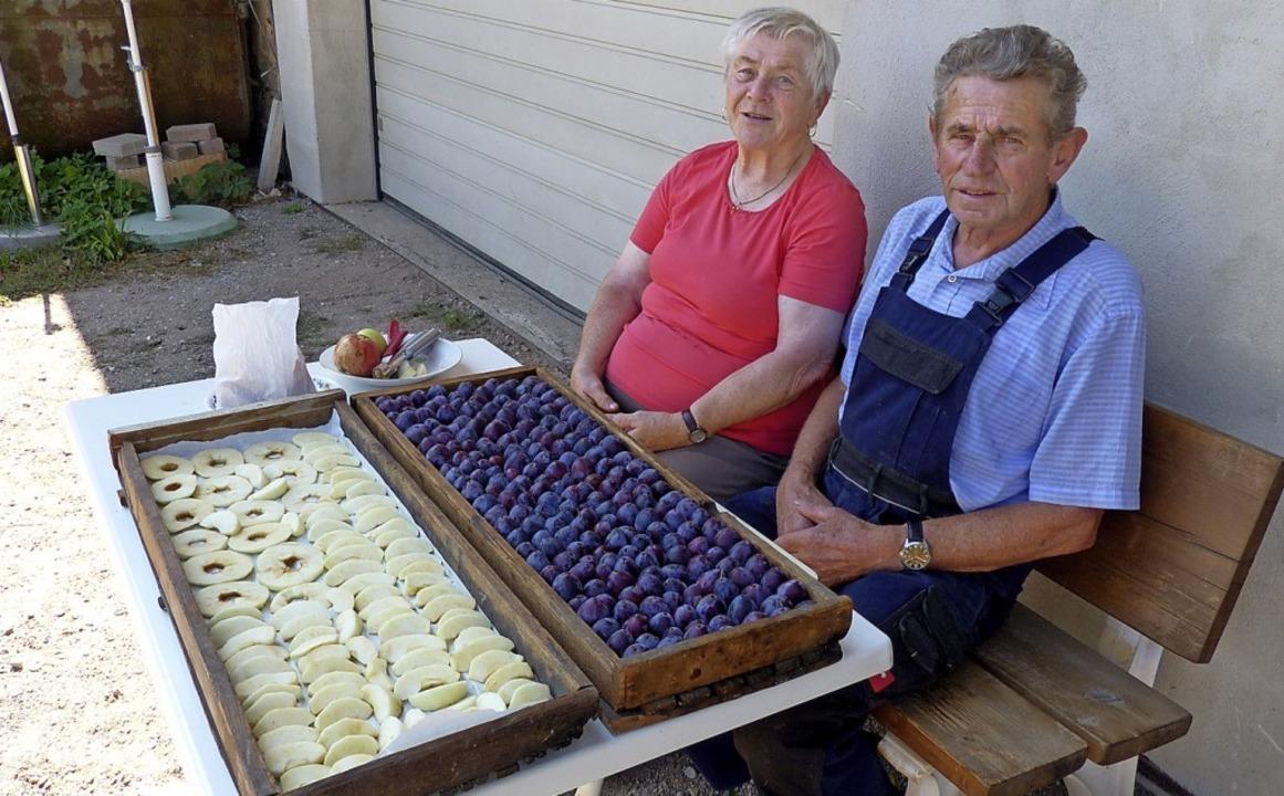 Ein Händchen für Obst: Ein Brett mit Z...aud Duttlinger zum Dörren vorbereitet.    Foto: Elisabeth Baumeister