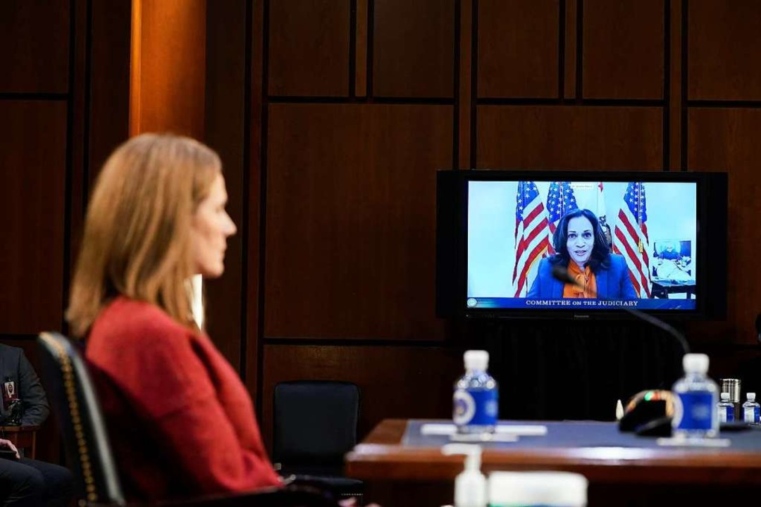 Senatorin Kamala Harris, demokratische...didatin, wurde per Video zugeschaltet.  | Foto: PATRICK SEMANSKY (AFP)