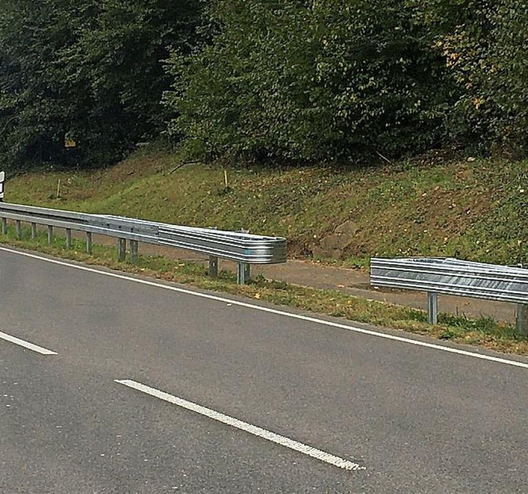 Nun ging es doch: Mit Zustimmung des L...e Schutzplanke an der B3 durchbrochen.  | Foto: Landratsamt Lörrach