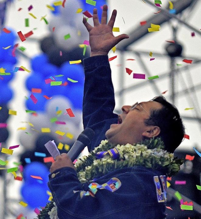 Luis Arce ist der  Präsidentschaftskandidat der sozialistischen MAS.  | Foto: Nestor Alexis Gomez (dpa)