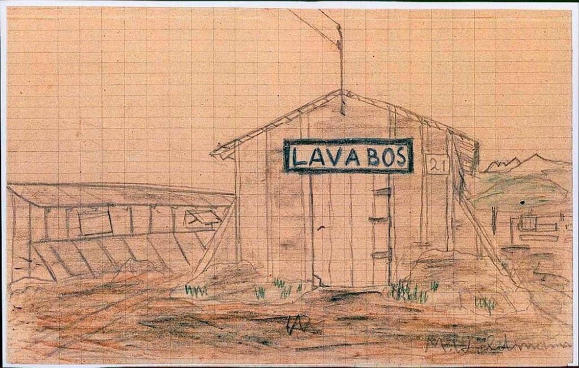 Eine Waschhütte in Gurs, gezeichnet von Manfred Wildmann.  | Foto: -