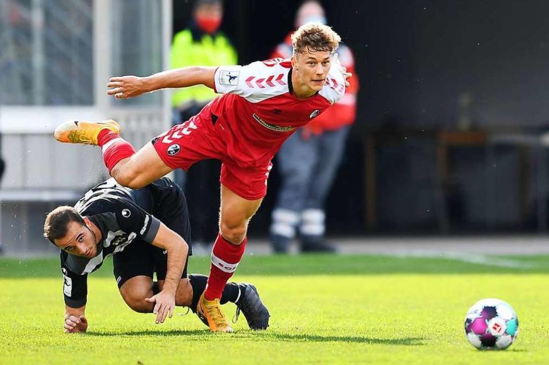 Auch Jannik Keitel brachte das Spiel gegen Balingen zuweilen aus dem Tritt.  | Foto: Achim Keller