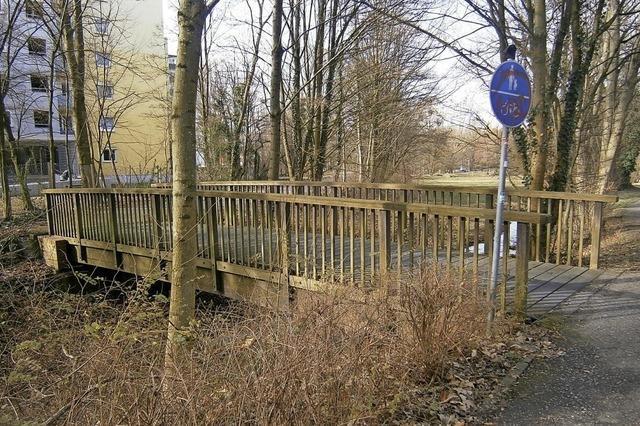 Metall statt Holz: Die neue Brücke im Dietenbachpark