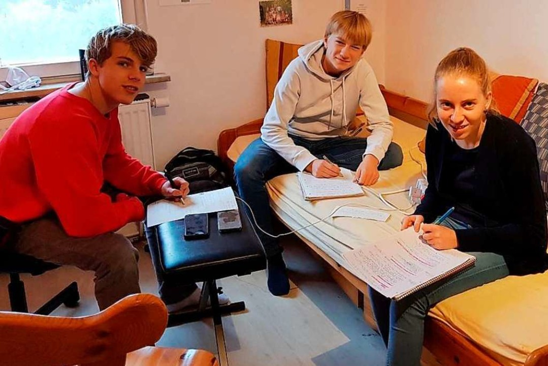Eine der Lerngruppen aus der Stufe 9 d...aier, Cian Knaack und Sophia Schneider  | Foto: Privat