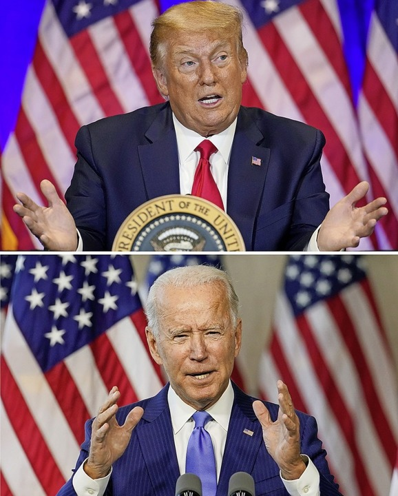 Einer wird gewinnen – nur wer? Donald Trump (oben) oder Joe Biden?  | Foto: Andrew Harnik, Carolyn Kaster (dpa)