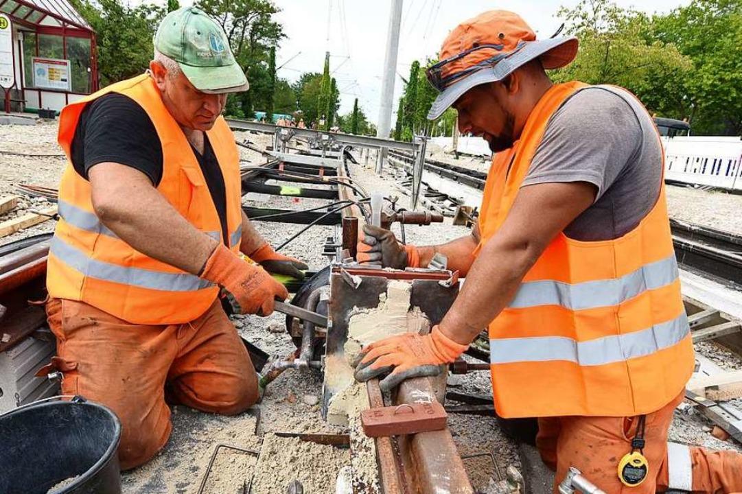Bauarbeiten an den Gleisen der Stadtbahn (Archivbild)  | Foto: Rita Eggstein