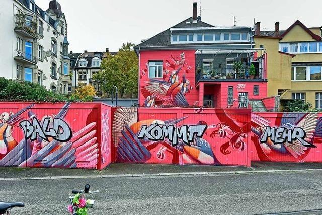 Gerade erst fertiggestelltes Auftrags-Graffito in Freiburg schon übersprüht