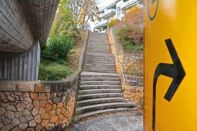 Die Umleitung für Radler in Weil am Rhein ist lang, aber beleuchtet