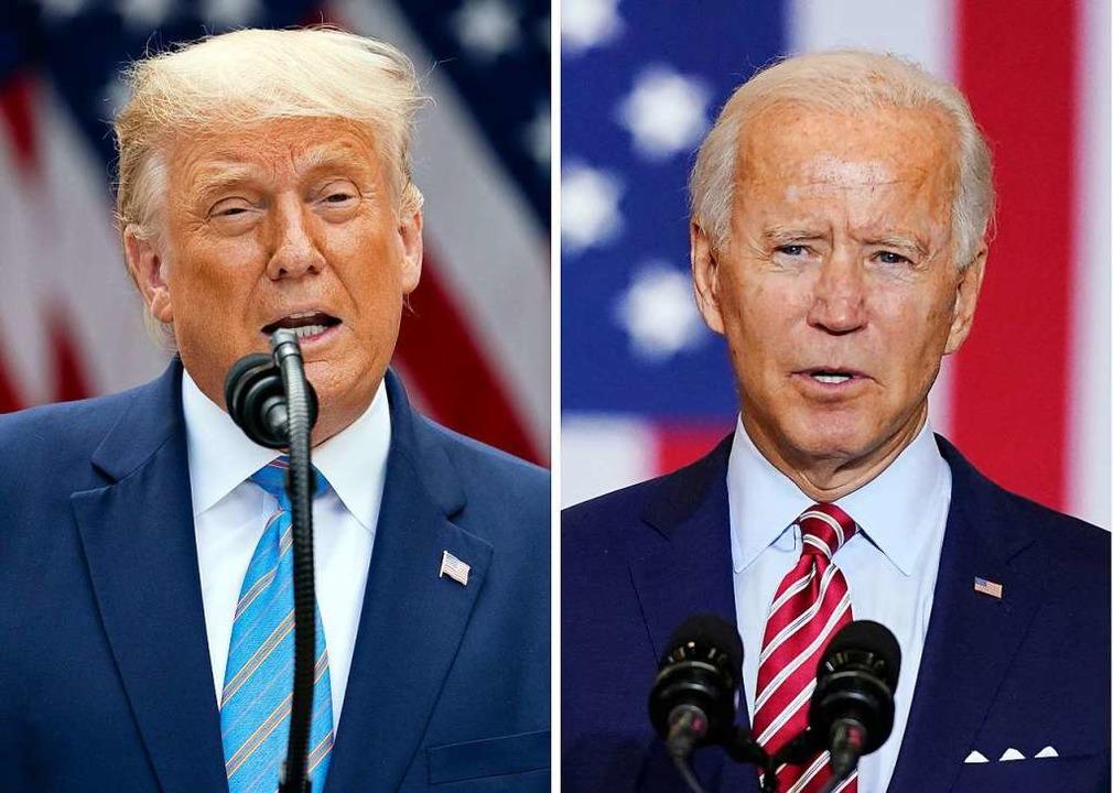 Links US-Präsidenten Donald Trump (Rep...ntschaftskandidat Joe Biden (Demokrat)    Foto: Evan Vucci, Patrick Semansky (dpa)