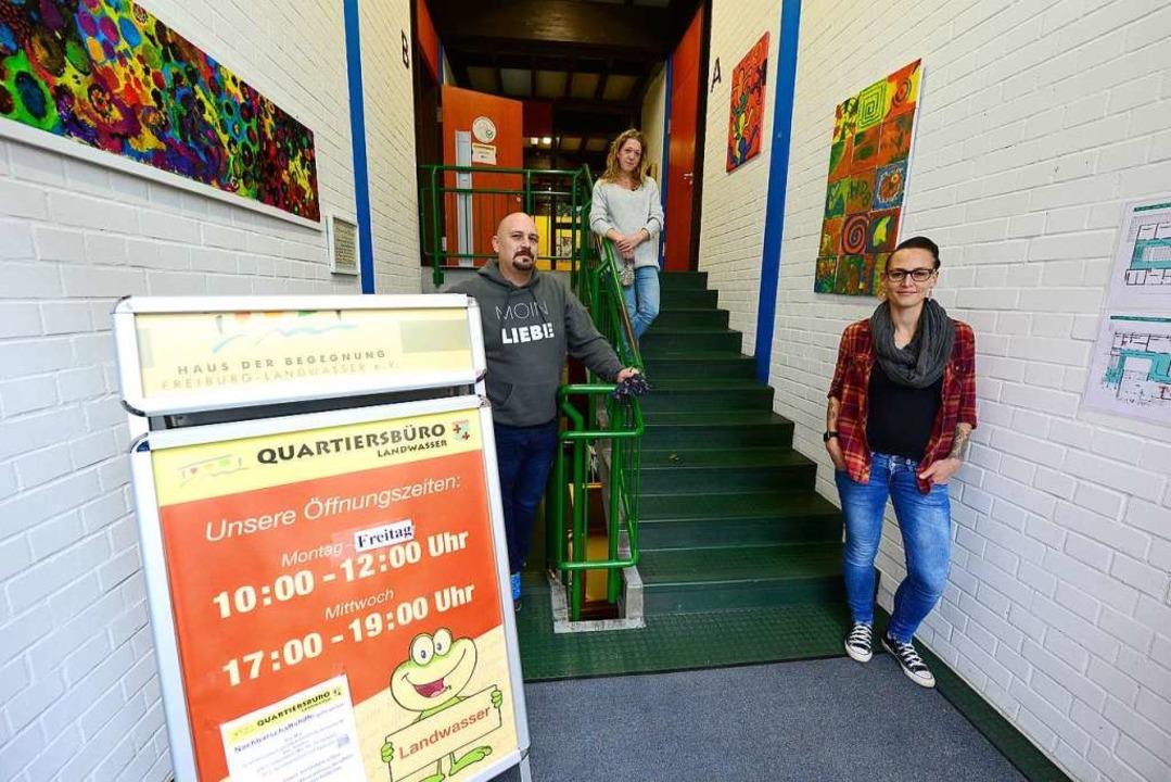 Das Team der Quartiersarbeit in Landwa...ro erreicht man nur noch über Treppen.    Foto: Ingo Schneider