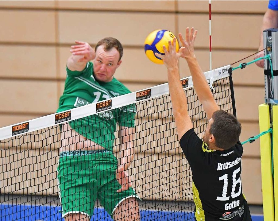 Zwei Sätze lang waren FT-Kapitän Marcu...Volleys Gotha mehr als nur ebenbürtig.  | Foto: Achim Keller