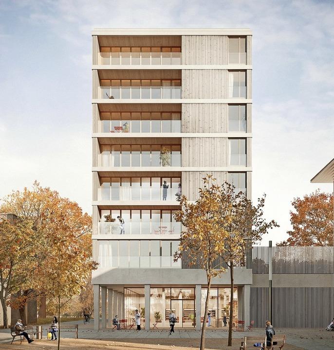 In der Buggingerstraße 52 wird seit Se...ressourceneffizienten Holzhaus gebaut.  | Foto: Jonas Bloch Visualisierung Weissenrieder Architekten