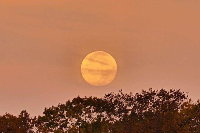 Monduntergang über der Autobahn bei Herbolzheim