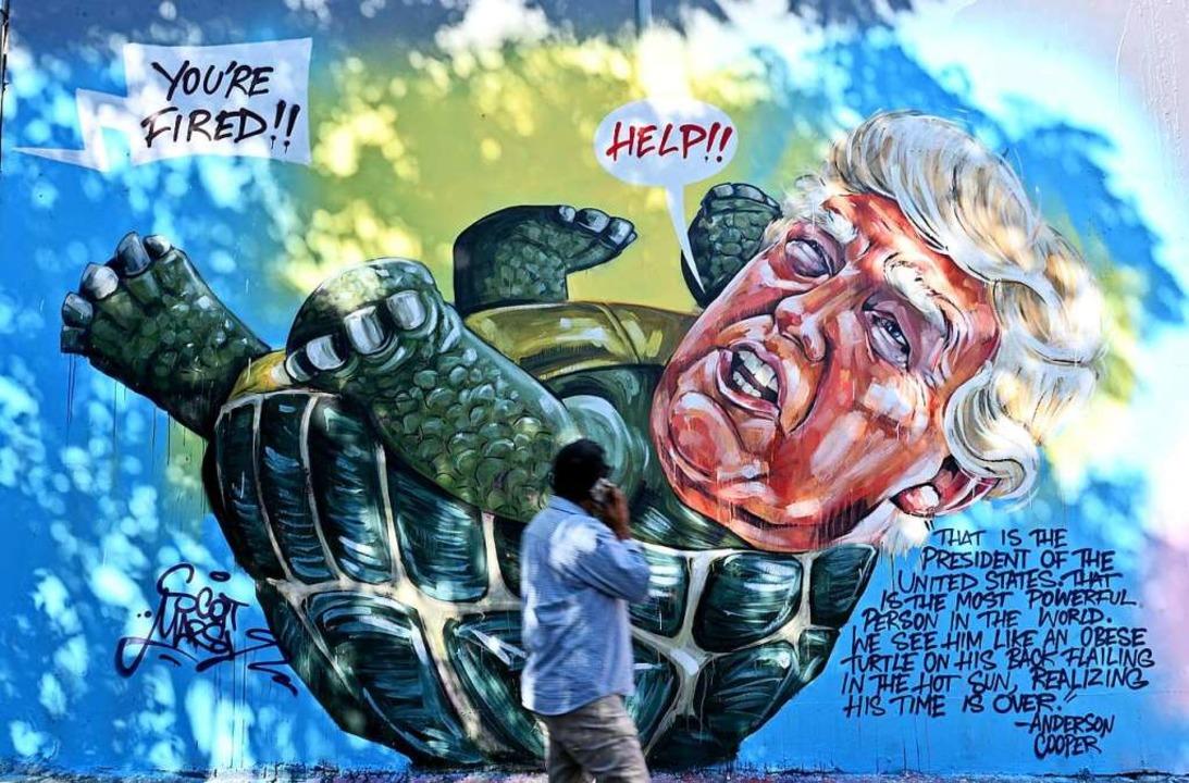 Ein Wandgemälde in Sydney karikiert Do...ls hilflos strampelnden Wahlverlierer.  | Foto: SAEED KHAN (AFP)