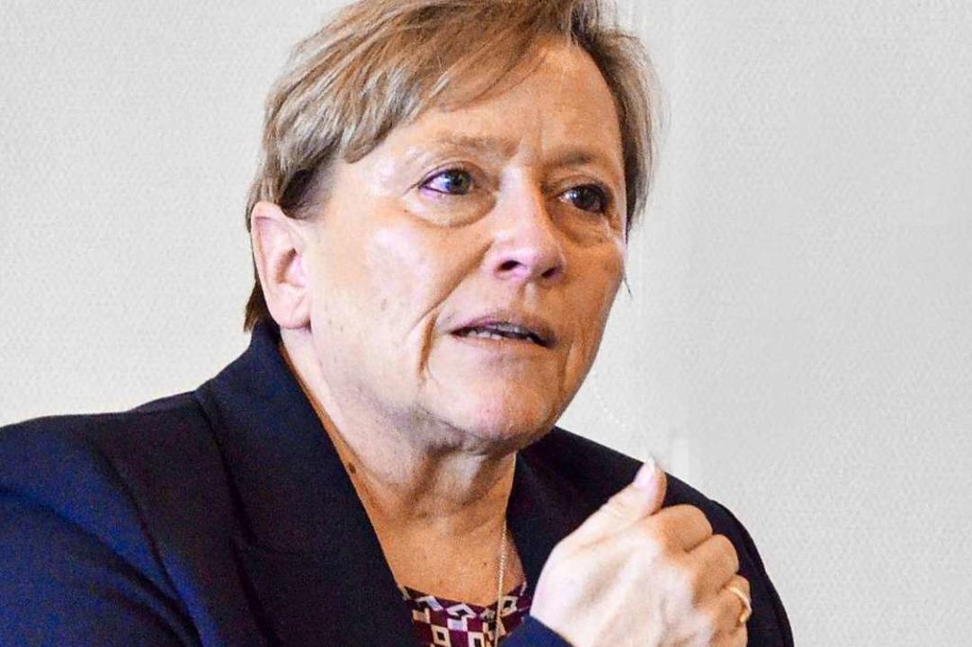 Susanne Eisenmann, Kultusministerin in...hrem Besuch bei der Badischen Zeitung.  | Foto: Andrea Schiffner