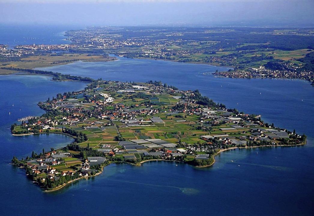 Die Insel Reichenau aus der Luft     Foto: Achim Mende