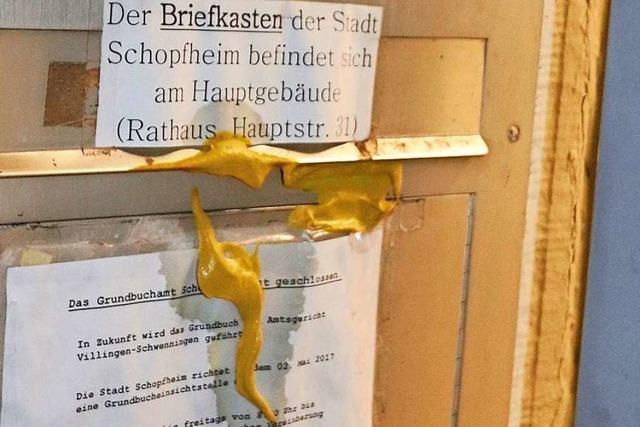 Rathaus, Amtsgericht Schopfheim und BZ-Redaktion wurden mit Unrat und Eiern beworfen