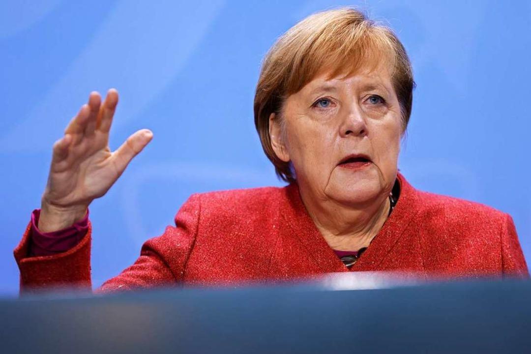 Kanzlerin Angela Merkel am Montag in e... Vorgehen in der Corona-Krise beraten.  | Foto: Odd Andersen (dpa)
