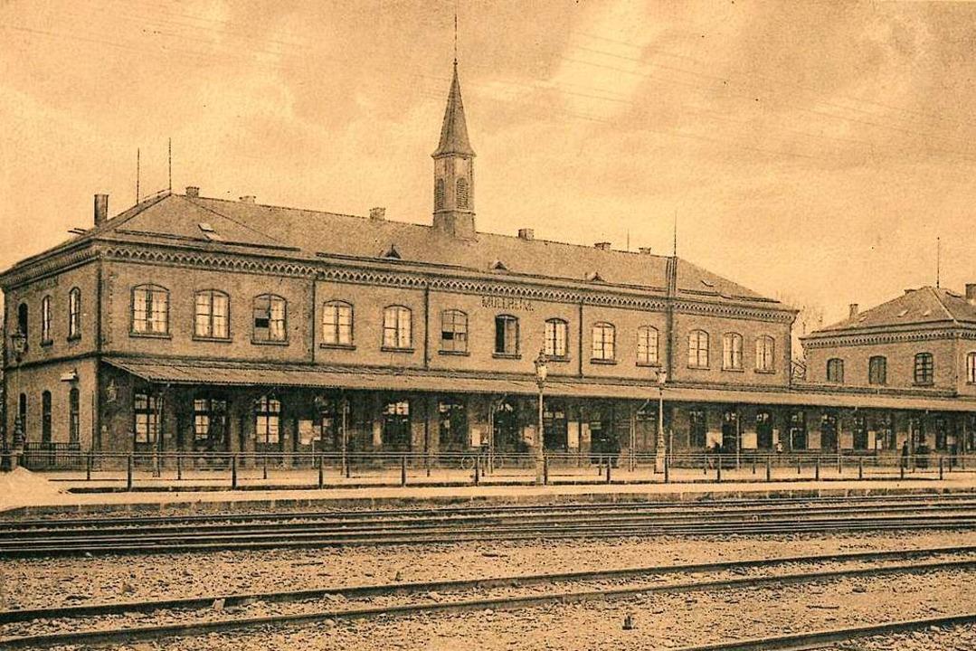 Der alte Müllheimer Bahnhof auf einer Postkarte von 1908.  | Foto: Markgräfler Museum Müllheim