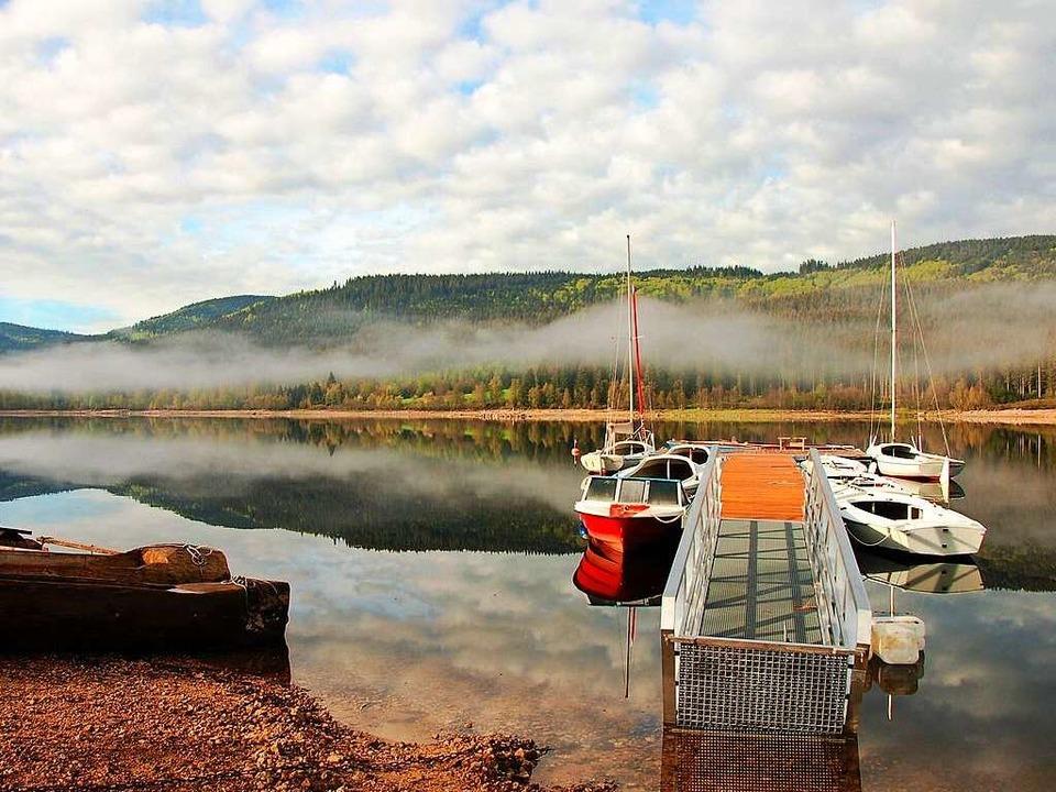 Frühling am Schluchsee – Bootssteig bei Aha    Foto: Kathrin Blum