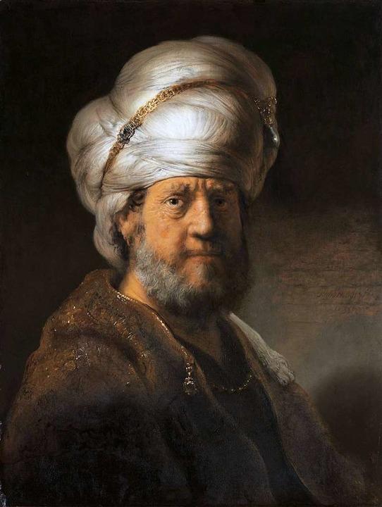 """Rembrandt: """"Brustbild eines Mann... orientalischer Kleidung (1635)""""    Foto: Rijksmuseum Amsterdam, Schenkung Herr ...u Kessler-Hülsmann, Kapelle-op-den-Bos"""