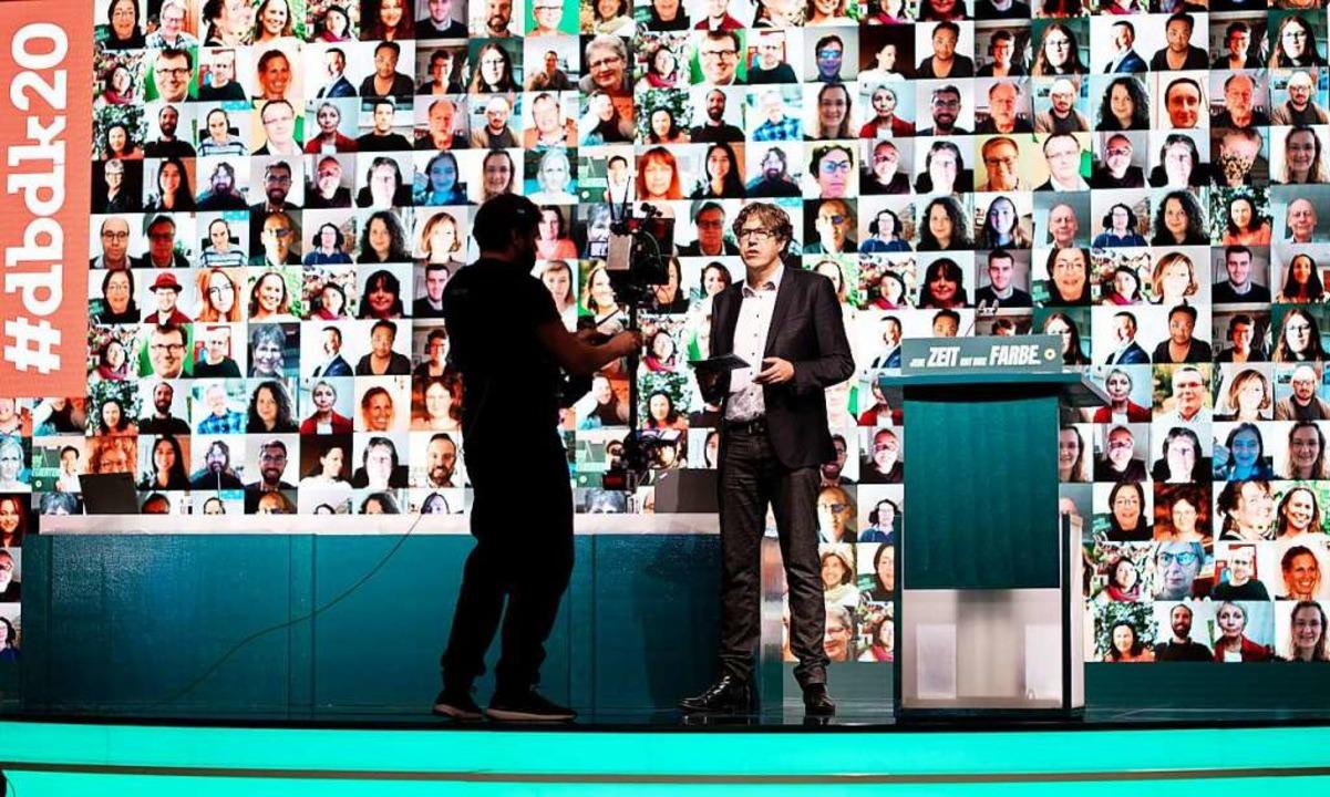 Michael Kellner, politischer Bundesges... digitalen Bundesparteitag der Grünen.  | Foto: Kay Nietfeld (dpa)