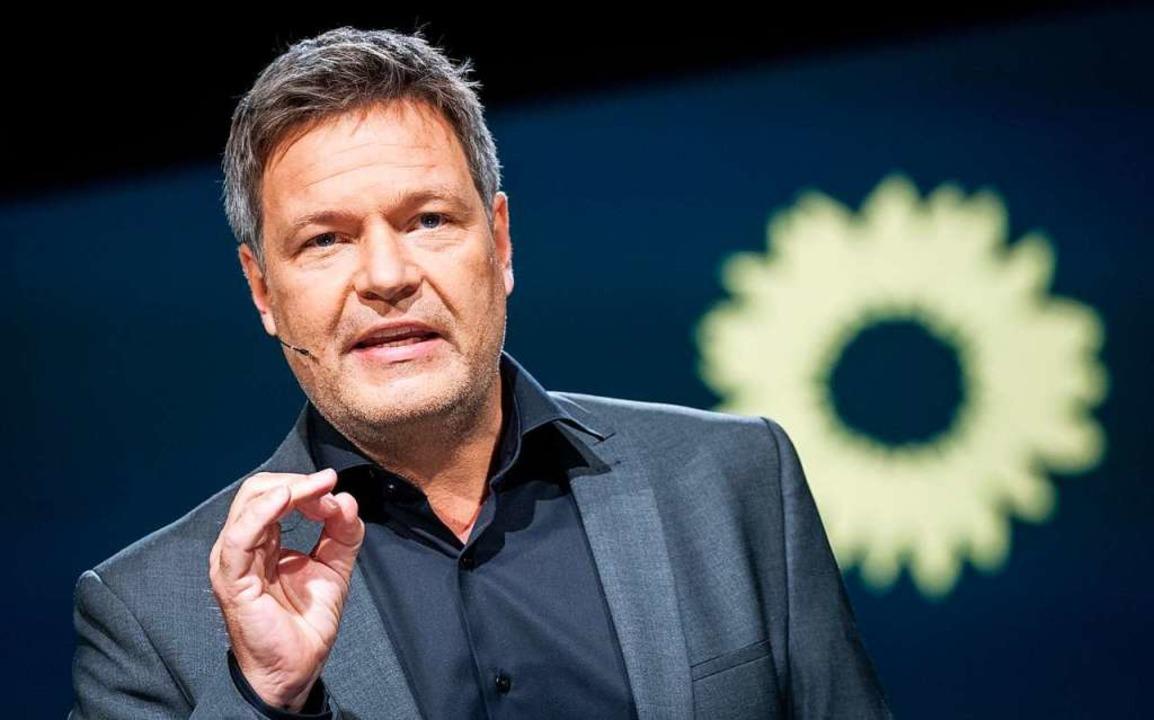 Robert Habeck beim digitalen Parteitag der Grünen  | Foto: Kay Nietfeld (dpa)