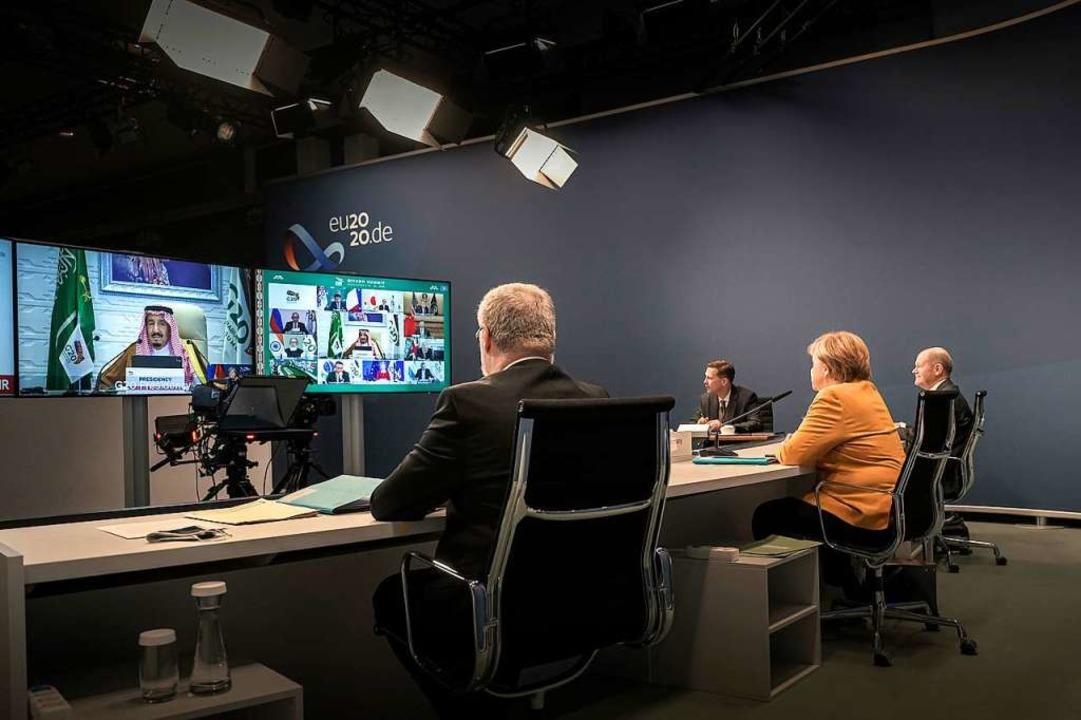 Der G20-Gipfel wurde digital ausgetragen.  | Foto: Guido Bergmann (dpa)