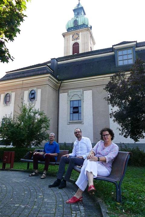 Jörg Hinderer (links), Matthias Wößner...m Rheinfelder Pfarreizentrum St. Josef  | Foto: Dora Schöls