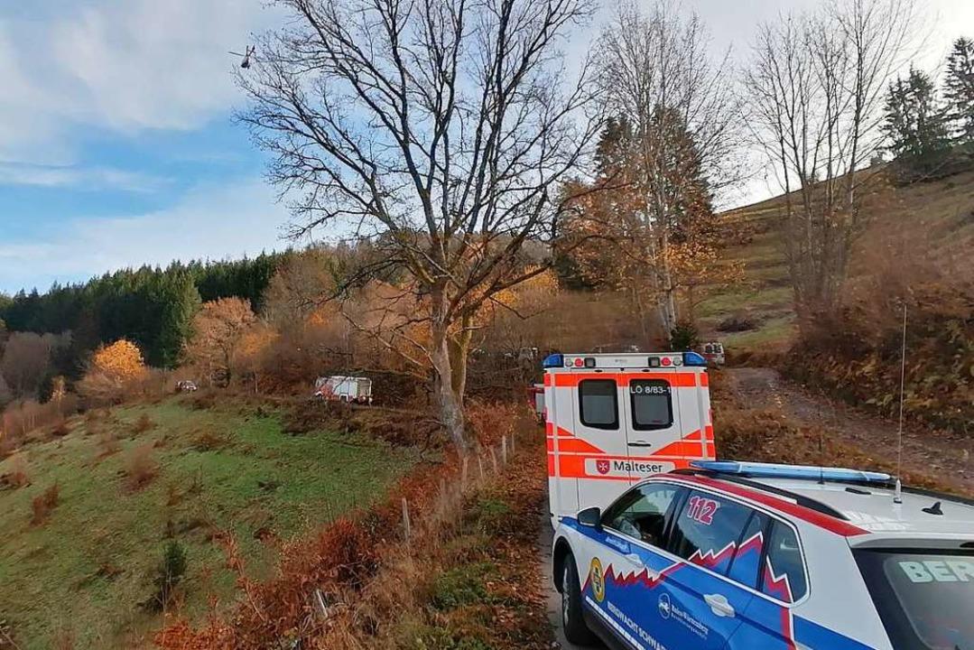Über 50 Einsatzkräfte am Boden und in ...mstagnachmittag bei der Rettung dabei.    Foto: FW Zell