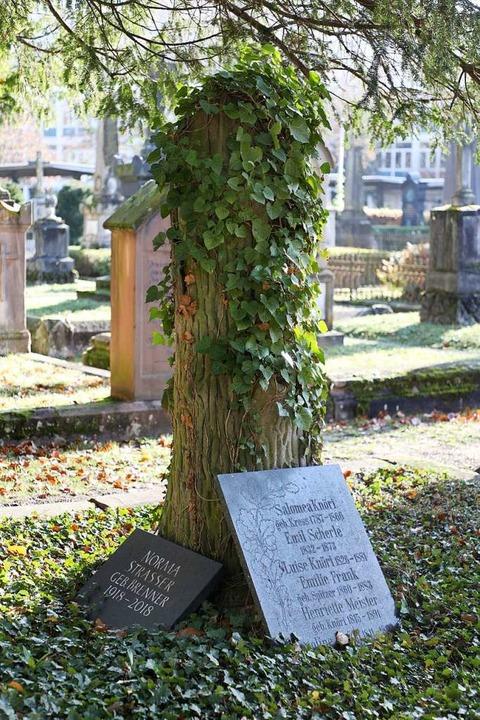 Einen Baumstamm ahmt das Grab der Lehrerfamilie Strasser nach.  | Foto: Christoph Breithaupt