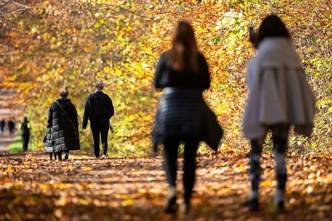 So ist's richtig: Spaziergang mit Abstand  | Foto: Sebastian Gollnow (dpa)