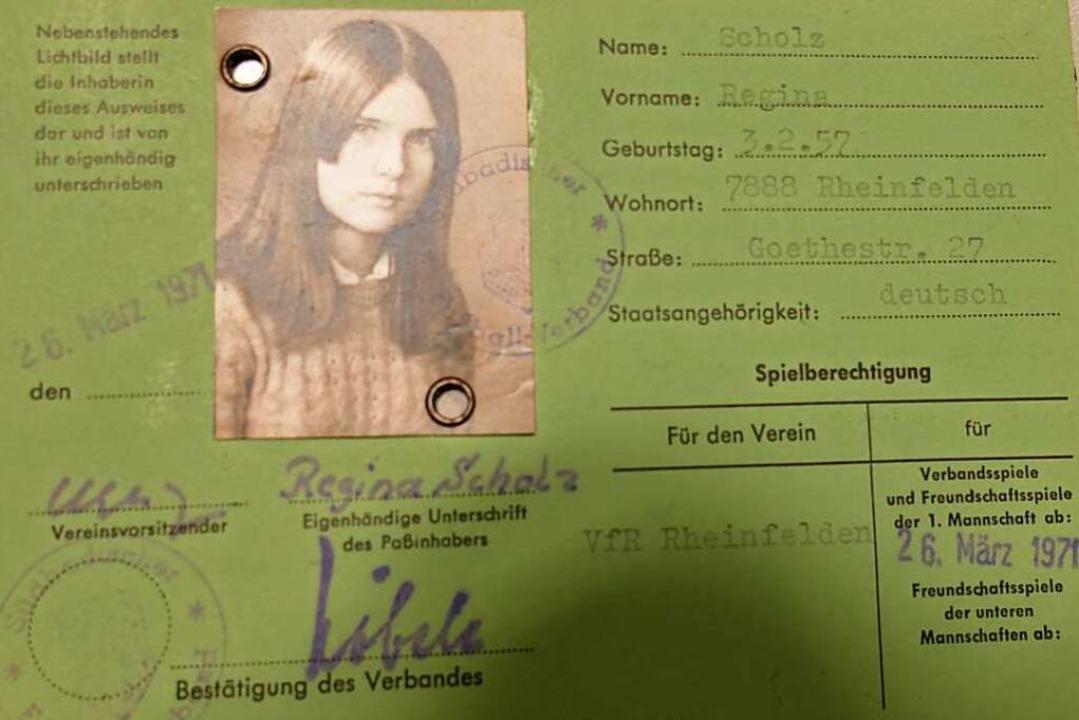 Die Spielerkarte von Regina Scholz, genannt Rexi, von 1971  | Foto: Verena Pichler