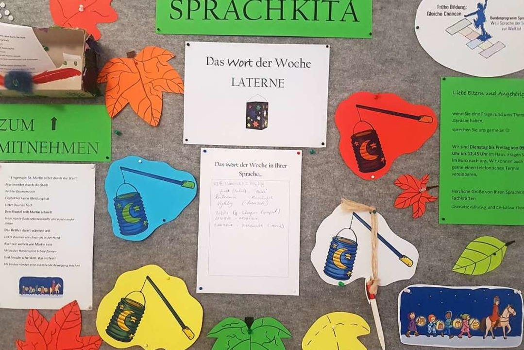 Gelebte Sprachenvielfalt – eine Infotafel in der Umkircher Kita.    Foto: Valerie Brodbeck
