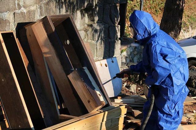 Bei der Renovierung des Glasbläserhofs wird mit Trockeneis gearbeitet