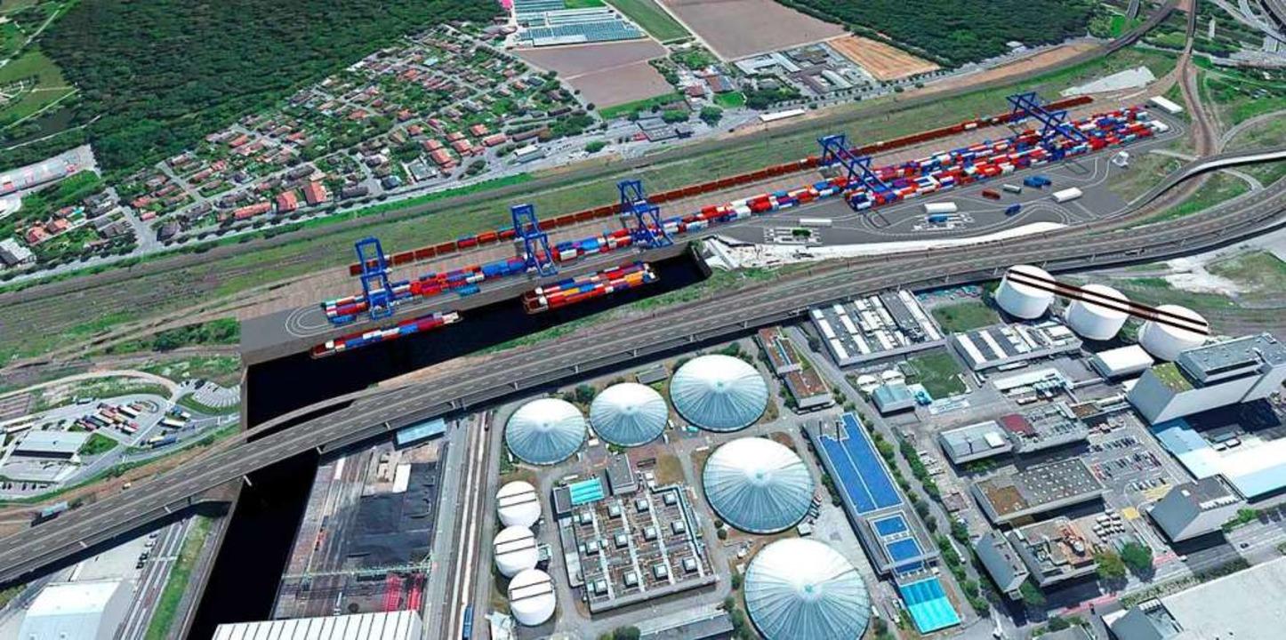 Das trimodale Containerterminal Gatewa...er Stadtteil Otterbach am oberen Rand.    Foto: SRH