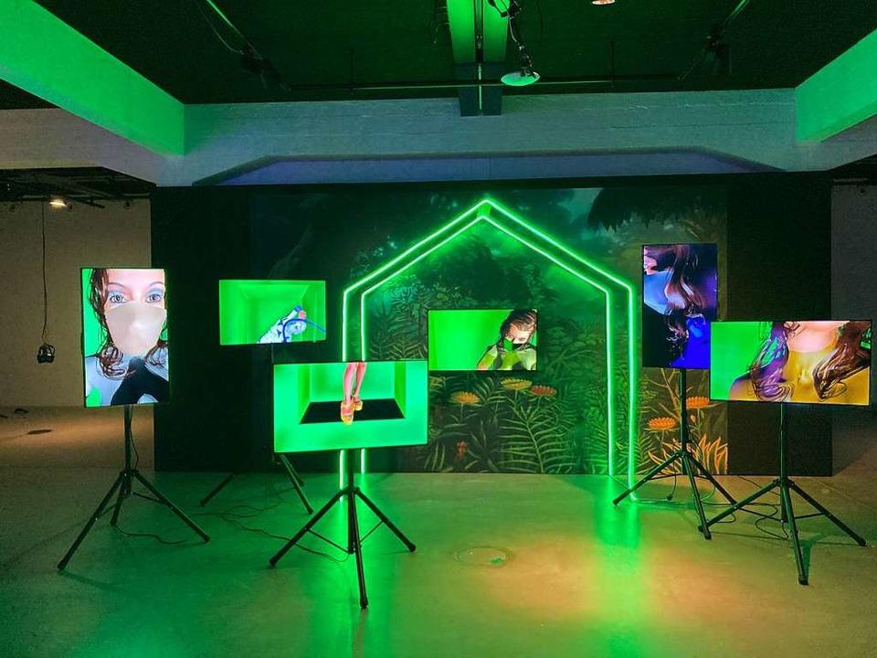 """Die effektvolle Video-Installation &#8...chen Künste"""" in Basel aufgebaut.    Foto: Niedermeier/privat"""