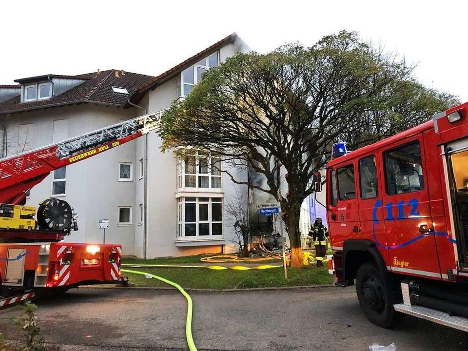 Für die Müllheimer Feuerwehr wurde Großalarm ausgelöst.  | Foto: Volker Münch
