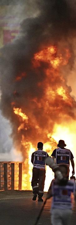 Der Feuer-Unfall in der Formel1  | Foto: Kamran Jebreili (dpa)