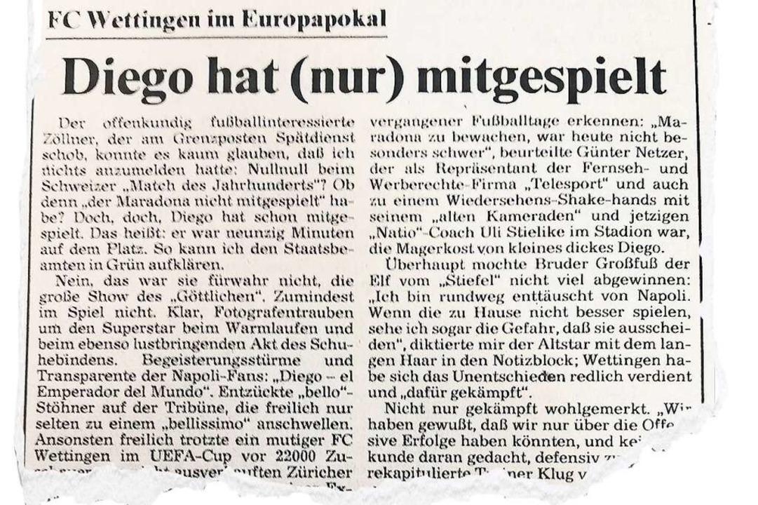 Eine halbe Stunde von Bad Säckingen en...ie Badische Zeitung vom 20. Oktober 89  | Foto: BZ-Archiv