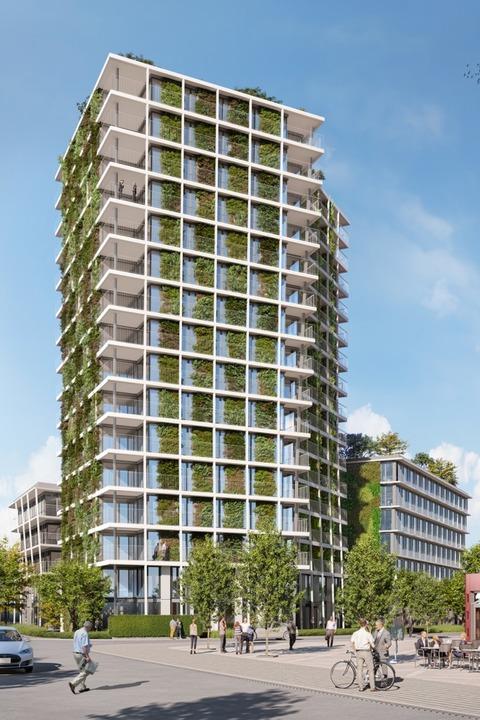 Grüner wird's nicht: An der Fass... 4300 Quadratmeter Pflänzchen wachsen.    Foto: Visualisierung Unmüssig
