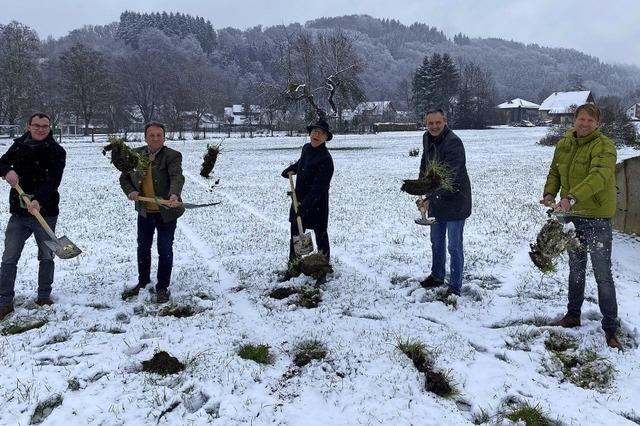 Bauarbeiten im Schnee